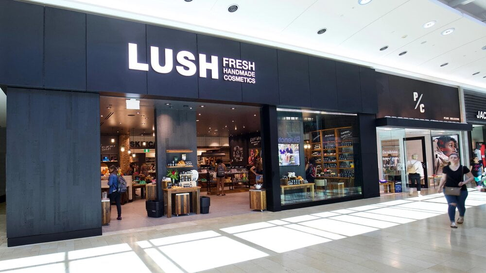 Exterior of Lush Cosmetics at Square One Shopping Centre. Photo: Square One