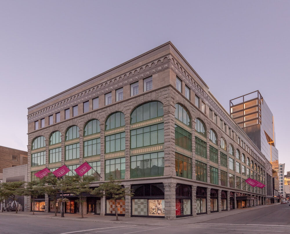 THE NEW EXTERIOR OF HOLT RENFREW OGILVY STORE IN MONTREAL IN JUNE 2020