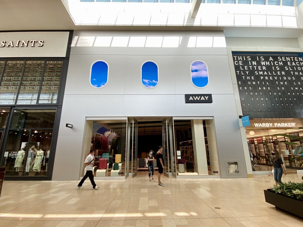 Exterior of new Away store in Yorkdale Shopping Centre. Photo: Maxime Frechette
