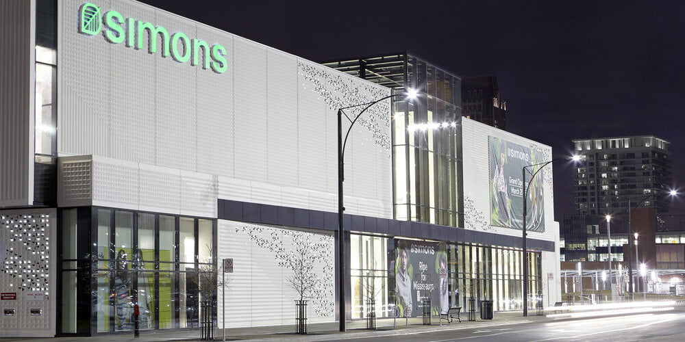 Exterior of Simons store at Square One in Mississauga. Photo: Simons