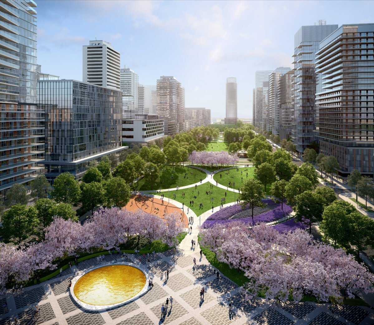 Rendering of future central park within Vaughan Metropolitan Centre. Rendering: SmartCentres