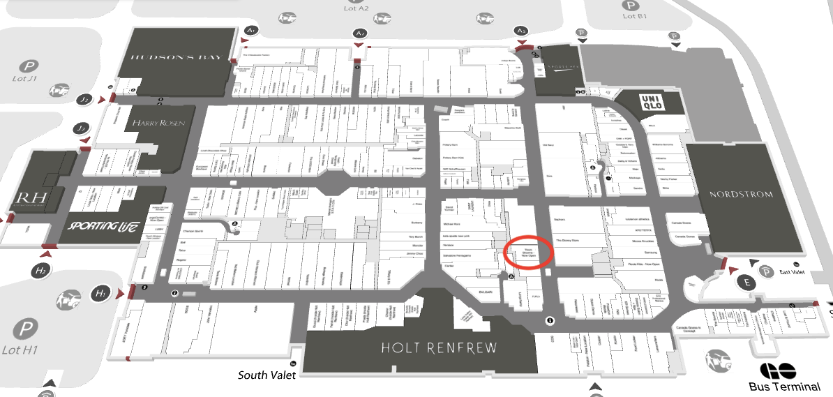Floor plan of Yorkdale Shopping Centre marking location of Thom Browne flagship. Image: Yorkdale Shopping Centre