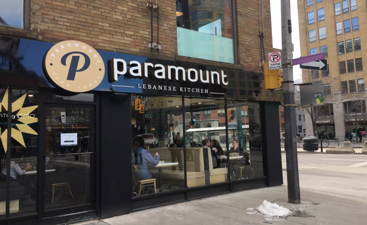 Exterior of Paramount Fine Foods Restaurant on the corner of Adelaide and Spadina in Toronto. Photo: BlogTO