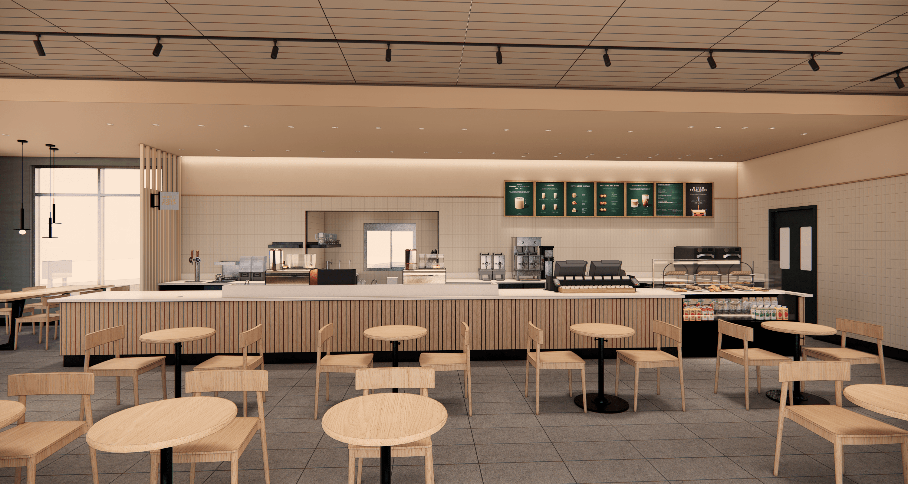 Rendering of Starbucks Canada's first sustainably-constructed drive-thru cafe. Rendering: Starbucks