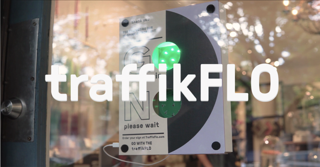TraffikFlo logo posted in front of TraffikFlo lights in store window. Photo: TraffikFlo Facebook