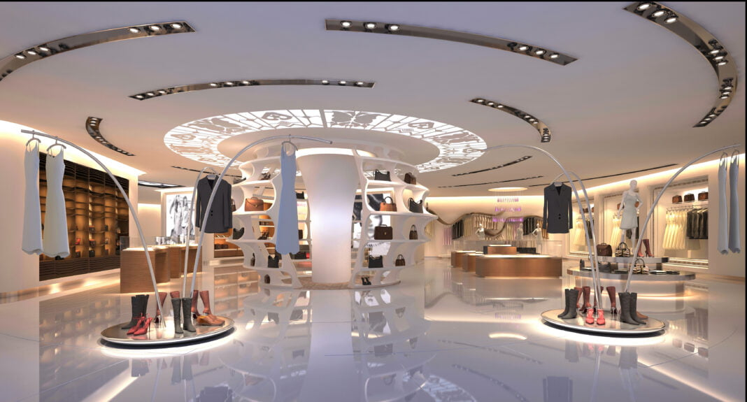 Interior of luxury store.
